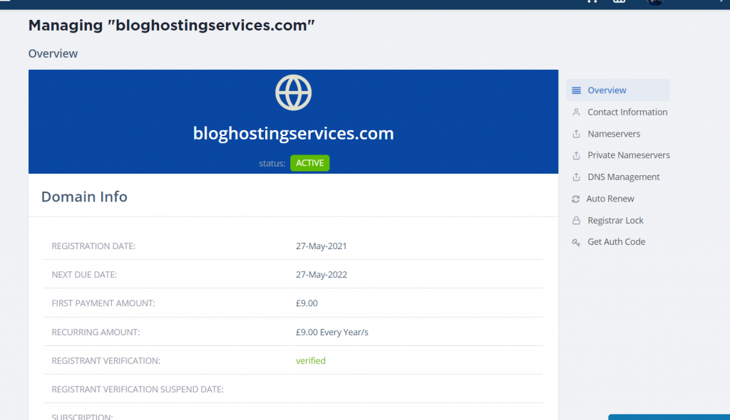 overview of domain for nameservers
