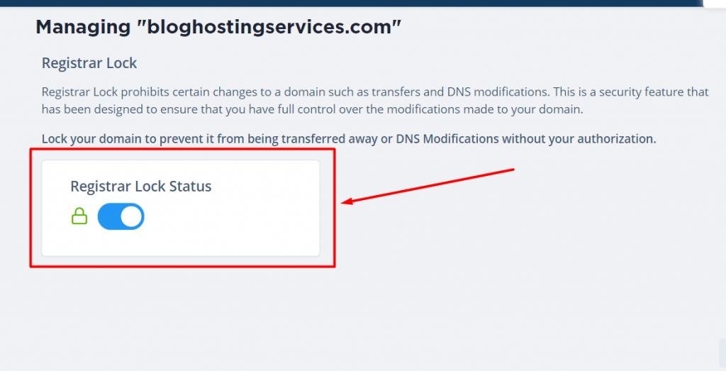 registrar lock after changing private nameservers