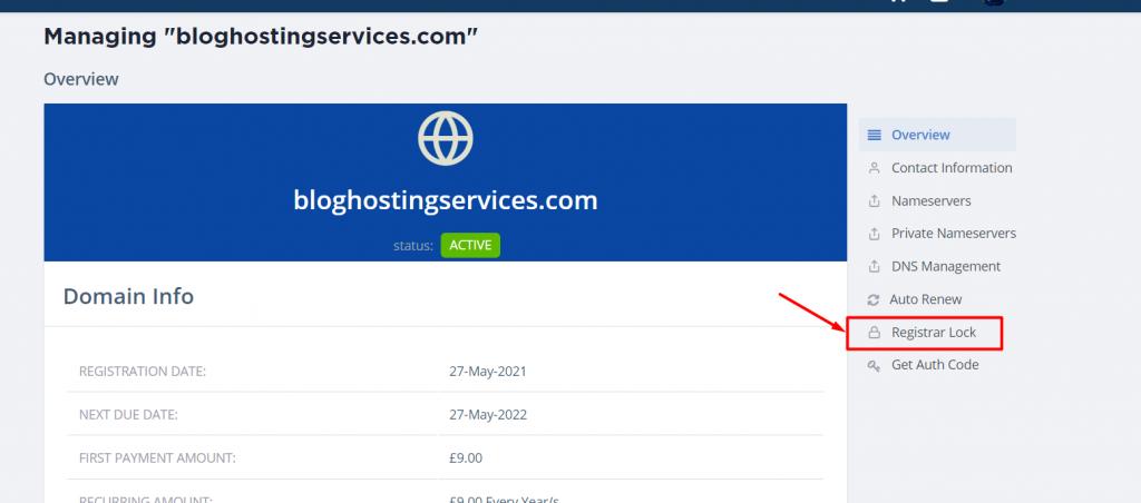 unlocking registrar lock for pbn blog